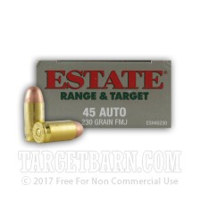 Estate Range & Target 45 ACP Ammunition - 50 Rounds of 230 Grain FMJ