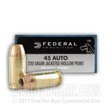 Federal Personal Defense 45 ACP Ammunition - 500 Rounds of 230 Grain JHP