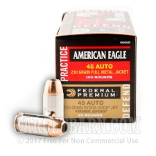 45 ACP - 230 gr Hydra Shok JHP (20 Rounds) & American Eagle FMJ (100 Rounds) - Federal - 120 Rounds