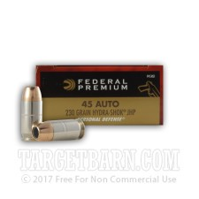 Federal Premium Personal Defense 45 ACP Ammunition - 20 Rounds of 230 Grain Hydra-Shok JHP
