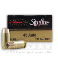 PMC Gold Starfire 45 ACP Ammunition - 20 Rounds of 230 Grain JHP