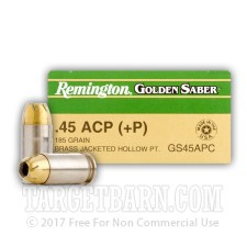 Remington Golden Saber 45 ACP Ammunition - 25 Rounds of +P 185 Grain JHP