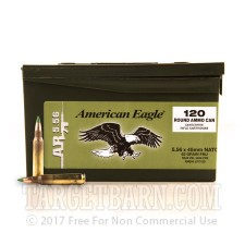 Federal American Eagle 5.56 NATO Ammunition - 120 Rounds of 62 Grain FMJ