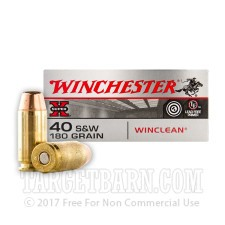 Winchester Super-X 40 S&W Ammunition - 50 Rounds of 180 Grain BEB Winclean