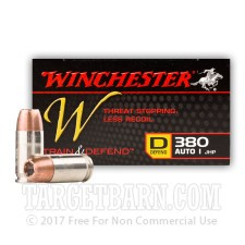 Winchester Train & Defend 380 ACP Ammunition - 20 Rounds of 95 Grain JHP
