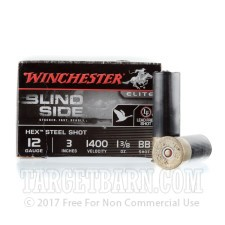 "Winchester Blind Side 12 Gauge Ammunition - 25 Rounds of 3"" 1-3/8 oz. BB Hex Steel Shot"