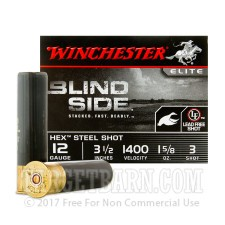 "Winchester Elite Blind Side 12 Gauge Ammunition - 250 Rounds of 3-1/2"" 1-5/8 oz. #3 Hex Steel Shot"