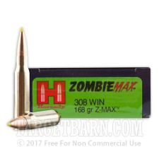 Hornady Zombie 308 Winchester Ammunition - 20 Rounds of 168 Grain Z-Max