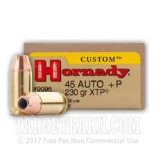 Hornady Custom 45 ACP Ammunition - 200 Rounds of +P 230 Grain XTP JHP