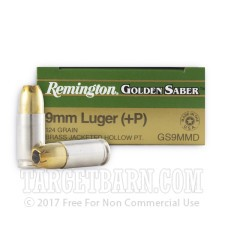 Remington Golden Saber 9mm Luger Ammunition - 25 Rounds of +P 124 Grain JHP