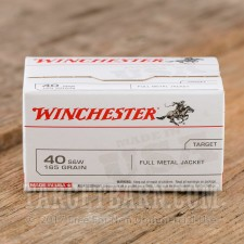 Winchester 40 S&W Ammunition - 100 Rounds of 165 Grain FMJ