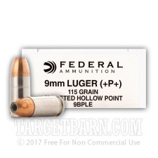 Federal 9mm Luger Ammunition - 1000 Rounds of +P+ 115 Grain JHP