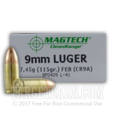 Magtech Clean Range 9mm Luger Ammunition - 50 Rounds of 115 Grain FEB