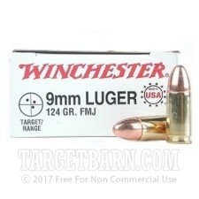 Winchester Target 9mm Luger Ammunition - 50 Rounds of 124 Grain FMJ