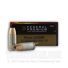 Federal Premium Law Enforcement 9mm Luger Ammunition - 1000 Rounds of 124 Grain Hydra-Shok JHP