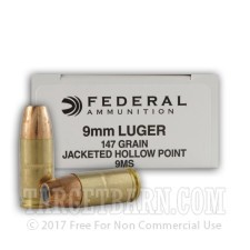 Federal 9mm Luger Ammunition - 1000 Rounds of 147 Grain Hi-Shok JHP