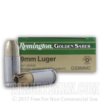 Remington Golden Saber 9mm Luger Ammunition - 25 Rounds of 147 Grain JHP