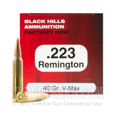 Black Hills 223 Remington Ammunition - 50 Rounds of 40 Grain V-Max