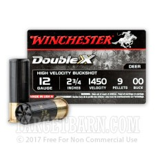 "Winchester Double-X 12 Gauge Ammunition - 5 Rounds of 2-3/4"" 00 Buckshot"