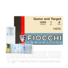 """Fiocchi Game and Target 12 Gauge Ammunition - 250 Rounds of 2-3/4"""" 1 oz. #8 Shot"""