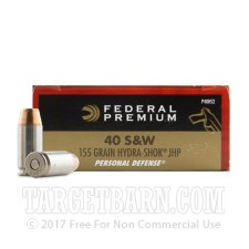 Federal Personal Defense 40 S&W Ammunition - 20 Rounds of 155 Grain Hydra-Shok JHP