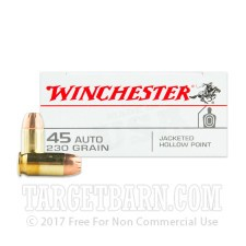 Winchester 45 ACP Ammunition - 50 Rounds of 230 Grain JHP