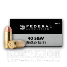 Federal Champion 40 S&W Ammunition - 50 Rounds of 180 Grain FMJ FN