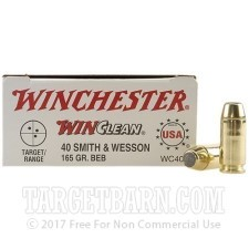 Winchester Winclean 40 S&W Ammunition - 50 Rounds of 165 Grain BEB