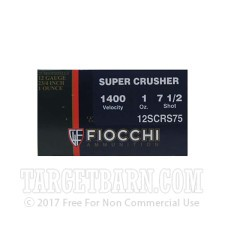 "Fiocchi 12 Gauge Ammunition - 25 Rounds of 2-3/4"" 1 oz #7.5 Shot"