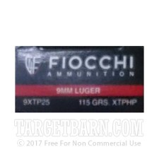 Fiocchi 9mm Luger Ammunition - 500 Rounds of 115 Grain XTP HP