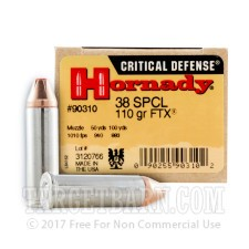 Hornady Critical Defense 38 Special Ammunition - 25 Rounds of 110 Grain FTX