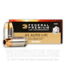 Federal Premium Law Enforcement 45 ACP Ammunition - 50 Rounds of +P 230 Grain HST HP