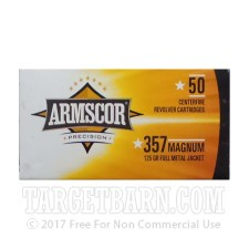 Armscor 357 Mag Ammunition - 1000 Rounds of 125 Grain FMJ