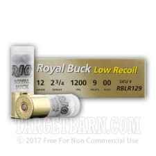"Rio Royal Buck 12 Gauge Ammunition - 250 Rounds of 2-3/4"" 00 Buckshot"