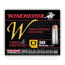 Winchester Train & Defend 38 Special Ammunition - 20 Rounds of 130 Grain JHP