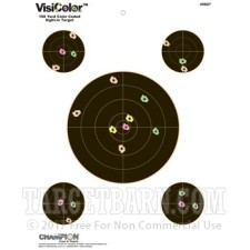 VisiColor 8 Inch Bullseye Target with Four Extra 3 Inch Bullseyes  - Multi-Color Reactive - Champion - 10 Count