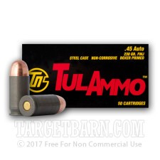 Tula 45 ACP Ammunition - 500 Rounds of 230 Grain FMJ