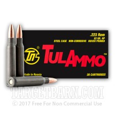 Tula 223 Remington Ammunition - 500 Rounds of 62 Grain HP