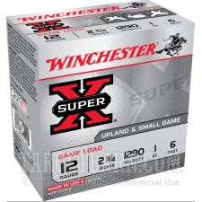 """Winchester Super-X Upland & Small Game 12 Gauge Ammunition - 25 Rounds of 2-3/4"""" 1 oz. #6 Shot"""