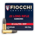 Fiocchi Subsonic 22 LR Ammunition - 500 Rounds of 40 Grain HP