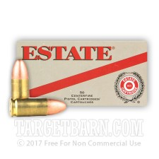 Estate Range & Target 9mm Luger Ammunition - 50 Rounds of 115 Grain FMJ