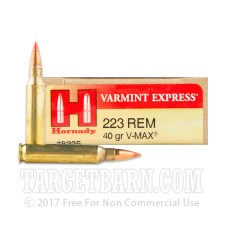 Hornady Varmint Express 223 Remington Ammunition - 20 Rounds of 40 Grain V-Max