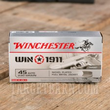 Winchester Win1911 Target 45 ACP Ammunition - 500 Rounds of 230 Grain FMJ