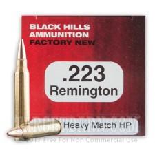 Black Hills 223 Remington Ammunition - 50 Rounds of 68 Grain Match Hollow Point