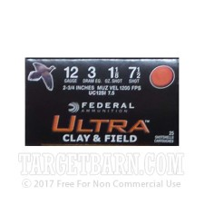 """12 Gauge - 2 3/4"""" 1-1/8 oz #7.5 Lead Shot - Federal Ultra Clay & Field - 250 Rounds"""