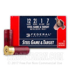 "12 Gauge - 2-3/4"" 1 oz. #7 Steel Shot - Federal Game and Target - 250 Rounds"
