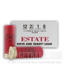 "Estate Dove and Target Load 12 Gauge Ammunition - 25 Rounds of 2-3/4"" 1 oz. #8 Shot"