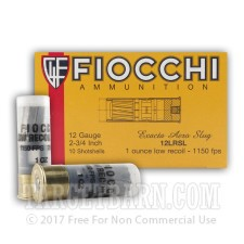 "Fiocchi 12 Gauge Ammunition - 10 Rounds of 2-3/4"" 1 oz. Rifled Slug"
