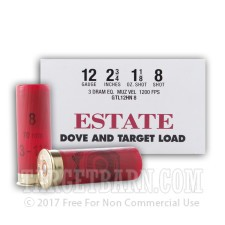 "Estate Dove & Target 12 Gauge Ammunition - 250 Rounds of 2-3/4"" 1-1/8 oz. #8 Shot"