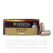 Federal Premium Law Enforcement 380 ACP Ammunition - 1000 Rounds of 99 Grain HST JHP